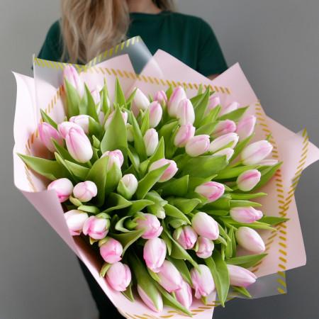 Букет из розовых тюльпанов 49 шт.