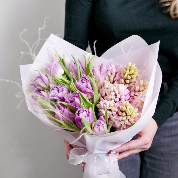 Микс тюльпанов с гиацинтами